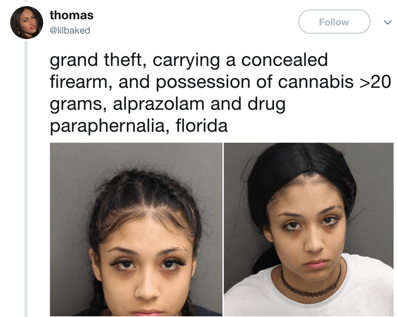 Face - thomas Follow @lilbaked grand theft, carrying a concealed firearm, and possession of cannabis >20 grams, alprazolam and drug paraphernalia, florida