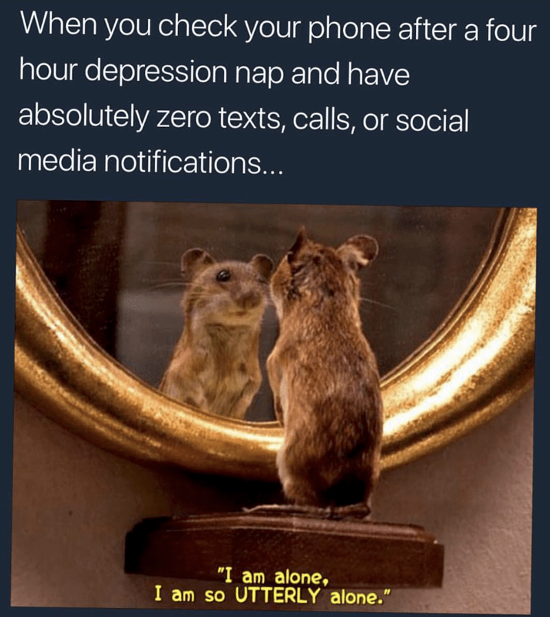"""Adaptation - When you check your phone after a four hour depression nap and have absolutely zero texts, calls, or social media notifications... """"I am alone, I am so UTTERLY alone."""""""
