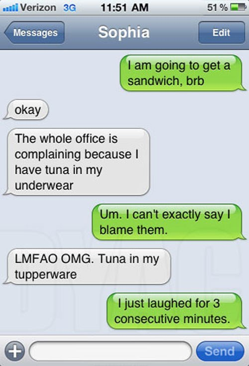 Text - 11:51 AM al Verizon 3G 51 % Sophia Messages Edit I am going to get a sandwich, brb okay The whole office is complaining because I have tuna in my underwear Um. I can't exactly say I blame them. LMFAO OMG. Tuna in my tupperware T just laughed for 3 consecutive minutes. + Send