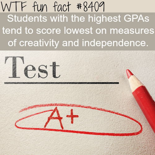 Text - WTF fun fact #8401 Students with the highest GPAS tend to score lowest on measures of creativity and independence. Test CAT