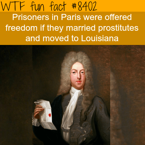 Text - WTF fun fact # 8402 Prisoners in Paris were offered freedom if they married prostitutes and moved to Louisiana