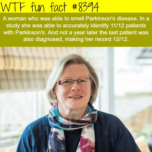 Scarf - WTF fun fact # 8394 A woman who was able to smell Parkinson's disease. In a study she was able to accurately identify 11/12 patients with Parkinson's. And not a year later the last patient was also diagnosed, making her record 12/12.
