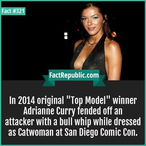 """fun fact - Text - Fact #321 FactRepublic.com In 2014 original """"Top Model"""" winner Adrianne Curry fended off an attacker with a bull whip while dressed as Catwoman at San Diego Comic Con."""