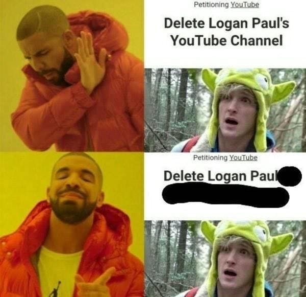 Funny meme about Logan Paul