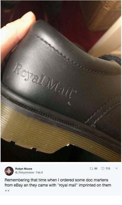 """Footwear - Royal Mait 712 ti 80 Robyn Moore Robynmoore Feb 8 Remembering that time when I ordered some doc martens from eBay an they came with """"royal mail"""" imprinted on them"""