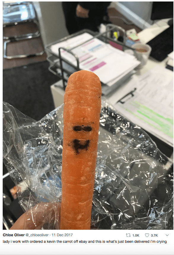 Food - Chloe Oliver @_chloeoliver 11 Dec 2017 t 1.0K 3.7K lady i work with ordered a kevin the carrot off ebay and this is what's just been delivered i'm crying