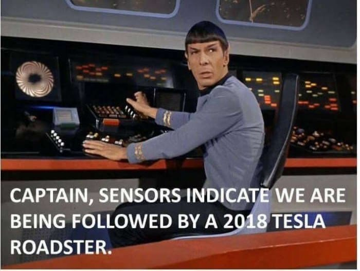 Funny meme about Star Trek and Tesla roadster, elon musk.