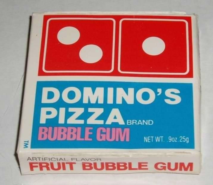 Games - DOMINO'S BRAND BUBBLE GUM NET WT .90z.25g ARTIFICIAL FLAVOR FRUIT BUBBLE GUM TM