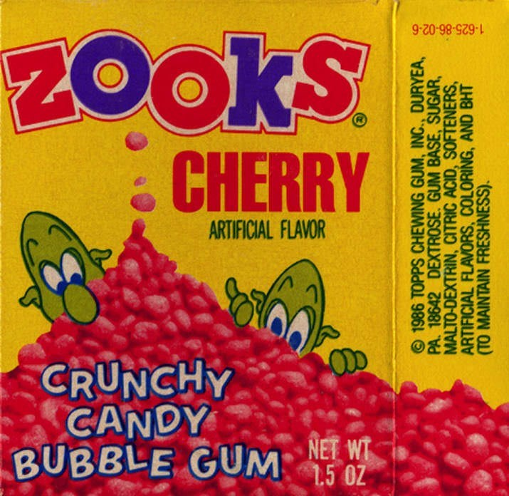Food - ZookS CHERRY 1-625-86-02-6 ARTIFICIAL FLAVOR CRUNCHY CANDY BUBBLE GUMW 1.5 OZ O 1986 TOPPS CHEWING GUM, INC., DURYEA, PA. 18642 DEXTROSE. GUM BASE, SUGAR, MALTO-DEXTRIN, CITRIC ACID, SOFTENERS, ARTIFICIAL FLAVORS, COLORING, AND BHT (TO MAINTAIN FRESHNESS)