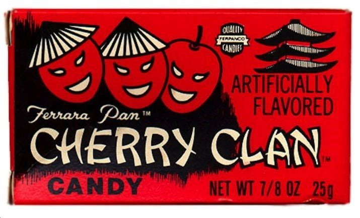 Font - OUALITY EAPANCO CANDIE ARTIFICIALLY FLAVORED Terrara Pan CHERRY CLAN CANDY NET WT 7/8 0Z 25g
