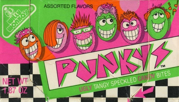 Cartoon - ASSORTED FLAVORS wonnoy PUNKY NET WT T,87 0Z TM UGLY TANGY SPECKLED CANDY BITES