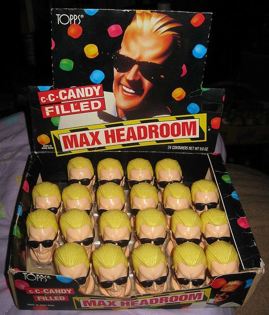 Ball - TOPPS c.C-CANDY FILLED MAX HEADROOM 24 CONTAINERS NET WT 9602 TOPPS C-C-CANDY FILLED LMAX HEADROOM MASE IN o