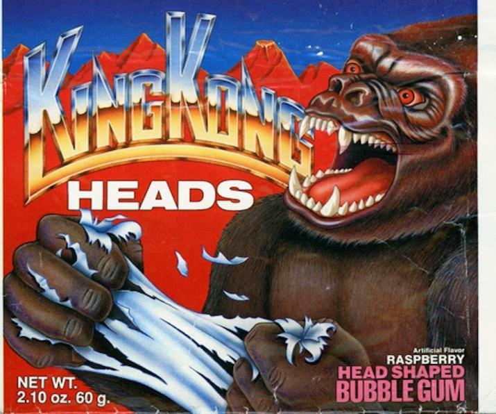 Animated cartoon - HEADS Artificial Flavor RASPBERRY HEAD SHAPED BUBBLE GUM NET WT. 2.10 oz. 60 g.