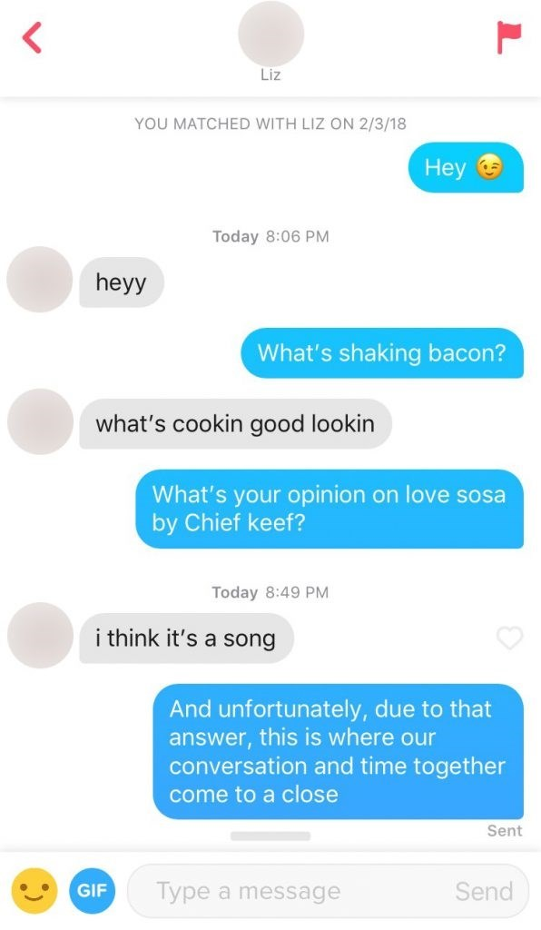 Text - < Liz YOU MATCHED WITH LIZ ON 2/3/18 Нey Today 8:06 PM heyy What's shaking bacon? what's cookin good lookin What's your opinion on love sosa by Chief keef? Today 8:49 PM i think it's a song And unfortunately, due to that answer, this is where our conversation and time together come to a close Sent Type a message Send GIF
