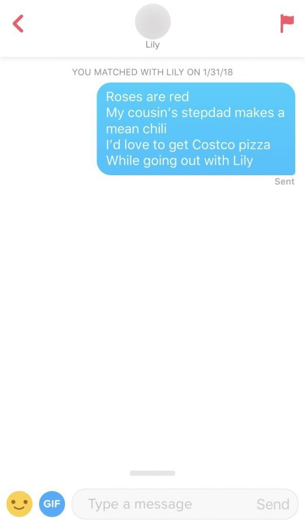Text - Lily YOU MATCHED WITH LILY ON 1/31/18 Roses are red My cousin's stepdad makes a mean chili I'd love to get Costco pizza While going out with Lily Sent Send Type a message GIF