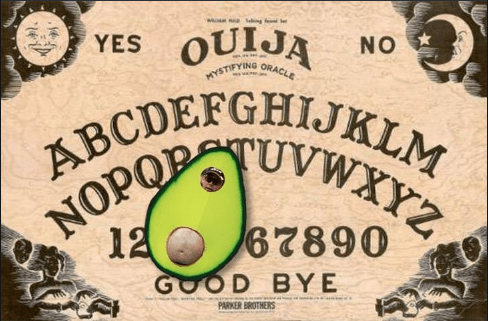 Font - eng OUIJA YES NO ORACLE HYSTIFY ABCDEFGHIJKLM NOPOP WY2 12 67890 OD BYE PARKER BROTHERS