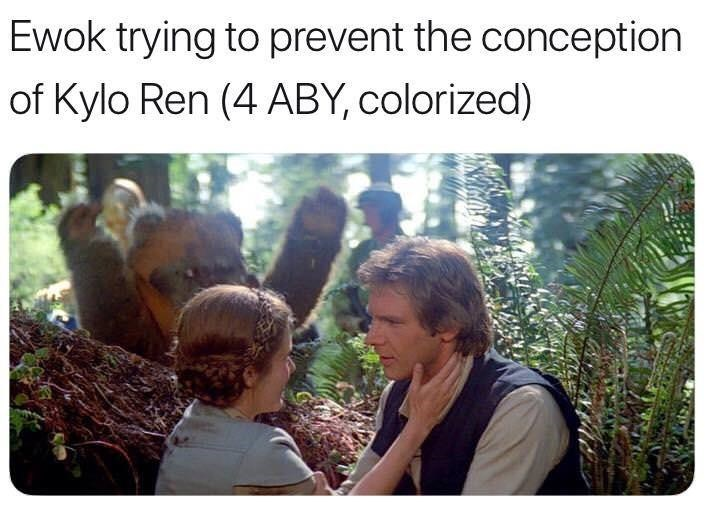 Vegetation - Ewok trying to prevent the conception of Kylo Ren (4 ABY, colorized)