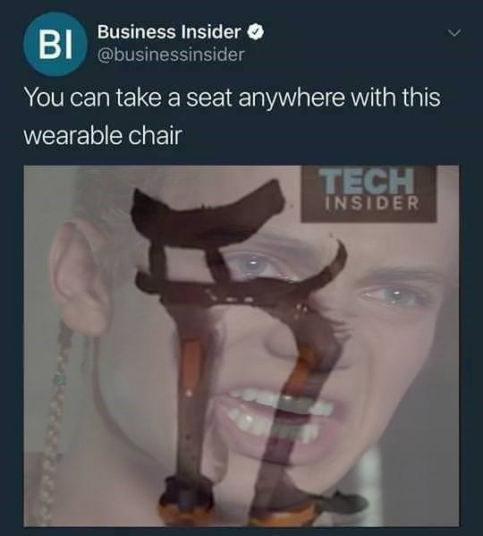 Business Insider BI @businessinsider You can take a seat anywhere with this wearable chair TECH INSIDER
