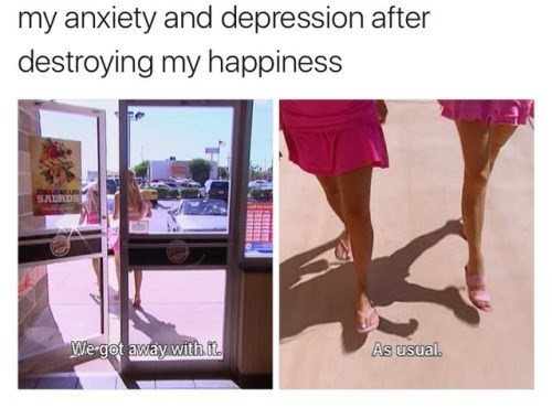 Funny meme about depression and anxiety.
