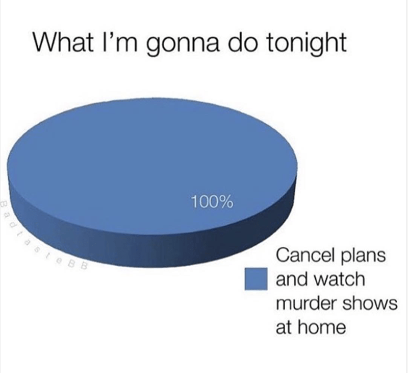 Product - What I'm gonna do tonight 100% dtaste BB Cancel plans and watch murder shows at home