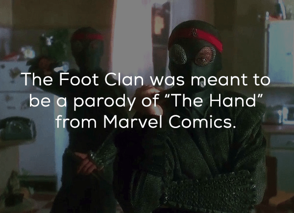 """Personal protective equipment - The Foot Clan was meant to be a parody of """"The Hand"""" from Marvel Comics."""