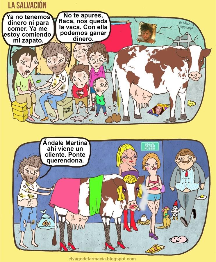 cuando no queda otra solucion que poner la vaca a trabajar