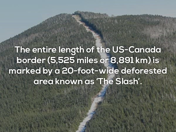 Text - The entire length of the US-Canada border (5,525 miles or 8,891 km) is marked by a 20-foot-wide deforested area known as The Slash'.