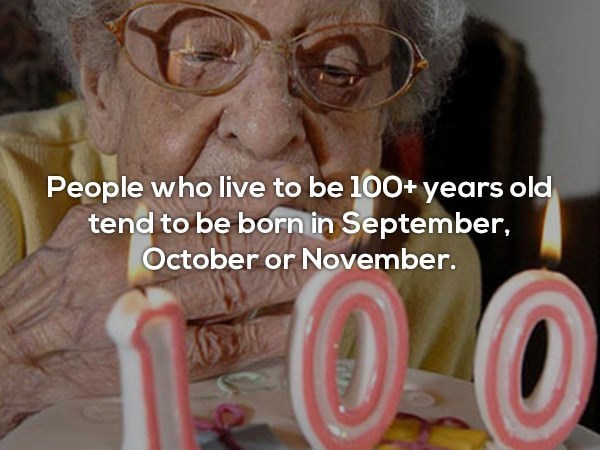 Product - People who live to be 100+ years old tend to be born in September, October or November. 00