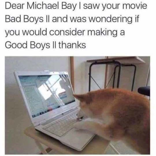 Text - Dear Michael Bay I saw your movie Bad Boys Il and was wondering if you would consider making a Good Boys Il thanks