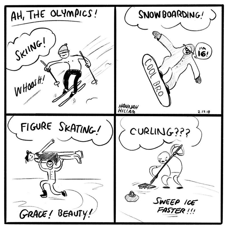 Funny meme about olympic sports, specifically curling.