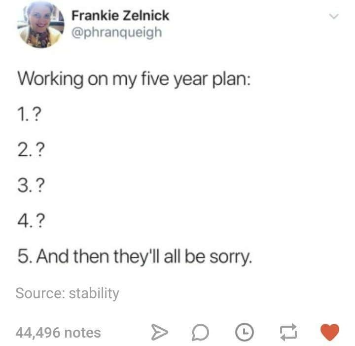 Text - Frankie Zelnick @phranqueigh Working on my five year plan: 1.? 2.? 3.? 4.? 5.And then they'll all be sorry. Source: stability 44,496 notes L