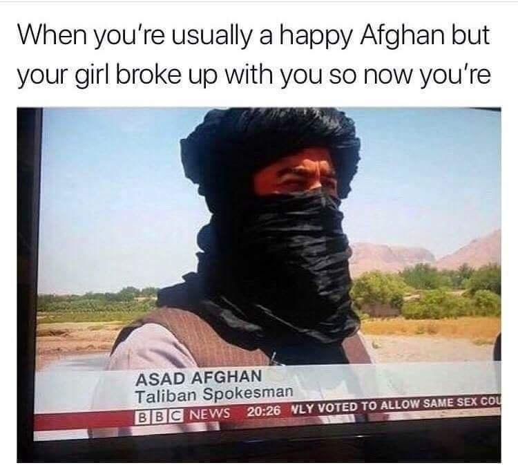 Funny meme, pun meme, about afghans.