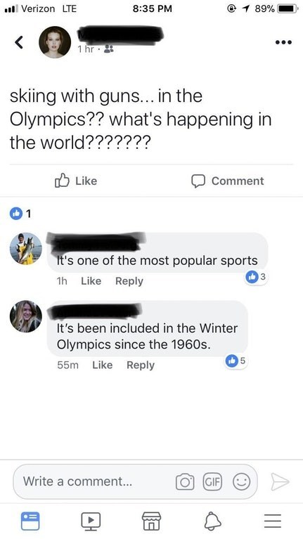 twitter post skiing with guns... in the Olympics?? what's happening in the world?? It's one of the most popular sports It's been included in the Winter Olympics since the 1960s