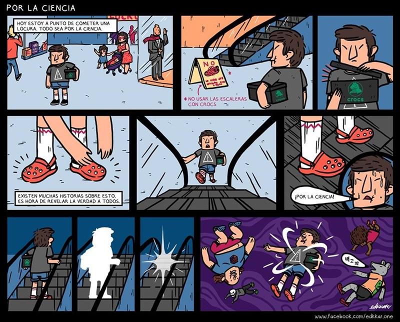 cuando usas crocs en las escaleras electricas