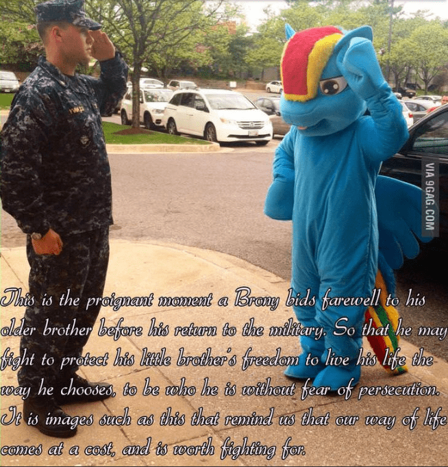 Adaptation - his is the proignant mament a Brony bids farewell to his alder brother befare his rehurn to the mlitary So that he may Mght to prodect his kale lrothers freedam toive his life the way he choodes, to be e is images sueh as this that remindl s that or way of life comes at a cost, and is worth fighting for who he ts otthout fear of perseculion VIA 9GAG.COM