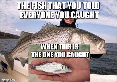 fish meme about lying about the size of the fish you caught