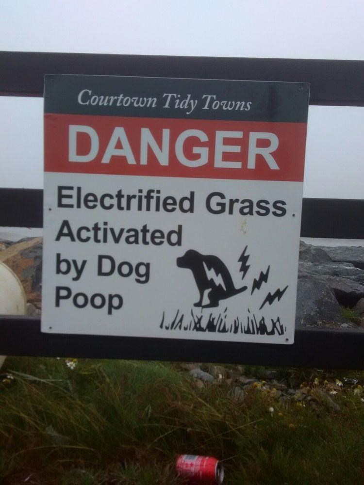 Text - Courtown Tidy Towns DANGER Electrified Grass Activated by Dog Poop