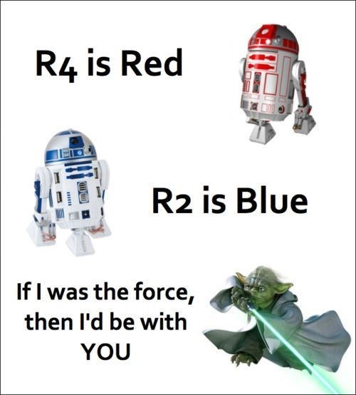 R2-d2 - R4 is Red R2 is Blue If I was the force, then l'd be with YOU