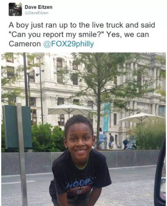 """Text - Dave Eitzen DaveEitzen A boy just ran up to the live truck and said """"Can you report my smile?"""" Yes, we can Cameron @FOX29philly HOOP"""