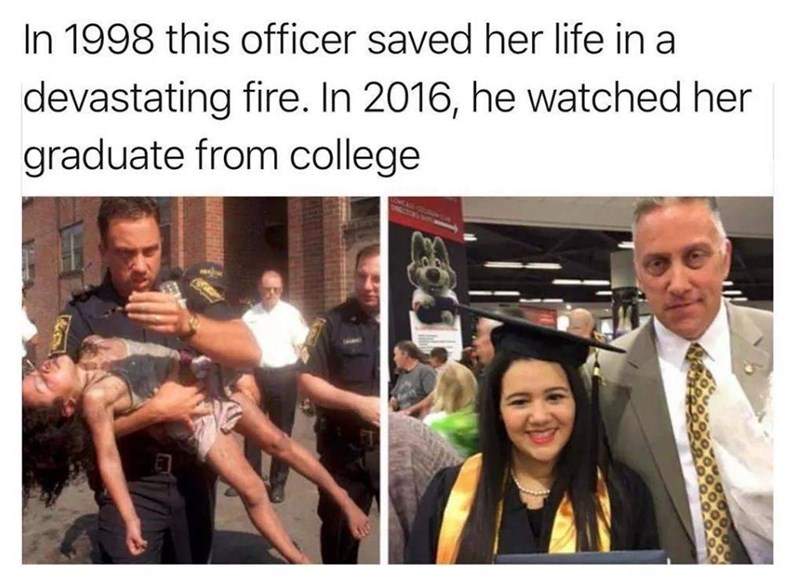 Community - In 1998 this officer saved her life in a devastating fire. In 2016, he watched her graduate from college