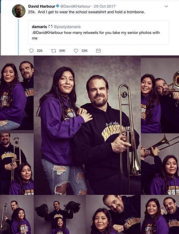 Facial expression - David Harbour@DavidKHarbour 29 Oct 2017 25k. And I get to wear the school sweatshirt and hold a trombone. damaris@postydamaris DavidKHarbour how many retweets for you take my senior photos with me 226 t 26K 33K HARHIT ASTT ARR