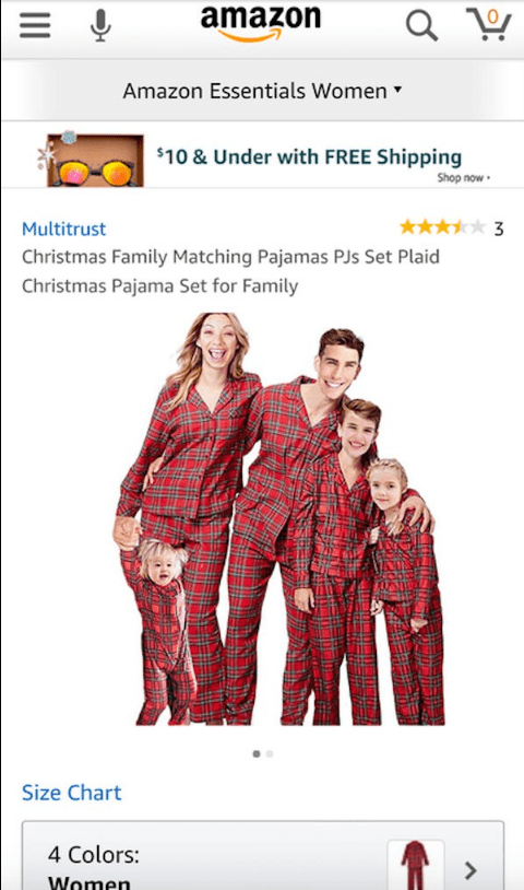 Text - amazon Amazon Essentials Women $10 & Under with FREE Shipping Shop now o3 Multitrust Christmas Family Matching Pajamas PJs Set Plaid Christmas Pajama Set for Family Size Chart 4 Colors: Women