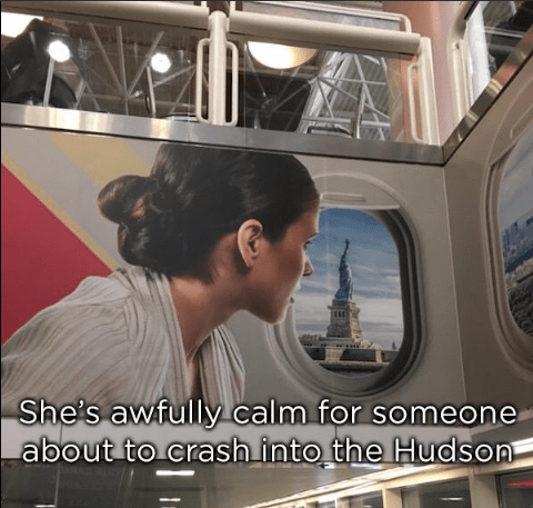 Transport - She's awfully calm for someone about to crash into the Hudson