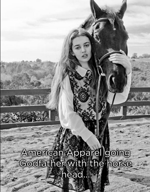 Horse - American Apparel going Godfather with the horse head..