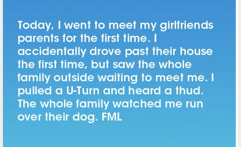 Text - Today, I went to meet my girlfriends parents for the first time. I accidentally drove past their house the first time, but saw the whole family outside waiting to meet me. I pulled a U-Turn and heard a thud. The whole family watched me run over their dog. FML