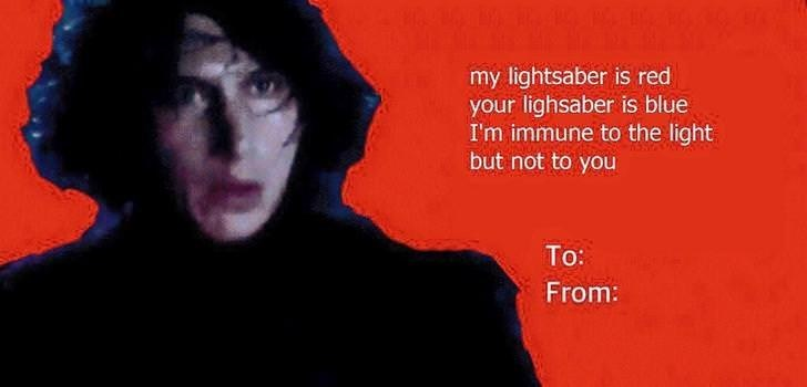 Text - my lightsaber is red your lighsaber is blue I'm immune to the light but not to you To: From: