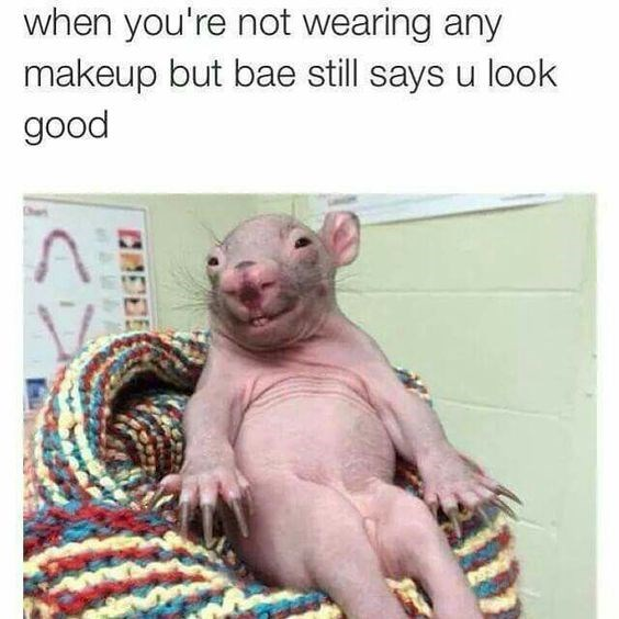 Rat - when you're not wearing any makeup but bae still says u look good A CREDE