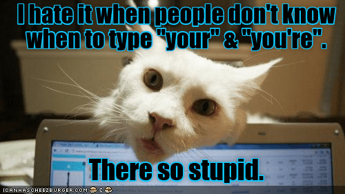 """Photo caption - Ihate it whenpeople don't know when to type """"your""""& """"you're"""" There so stupid. ICANHASCHEEZEURGER coM"""