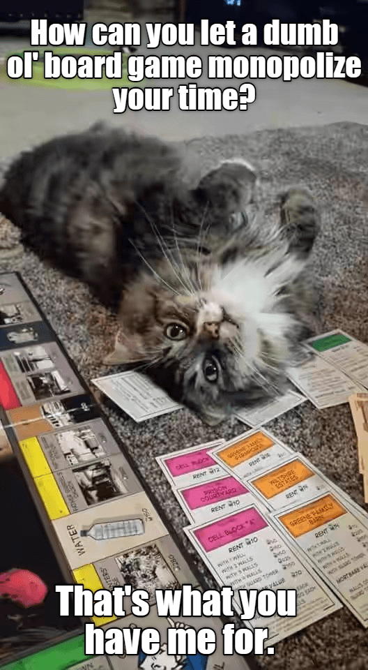 Cat - How can you let a dumb or board game monopolize your time? RENT 12 PENT CirHD wRSON COURTYARD wLTSHRE tSTATES RENT 10 RENT That's whatyou have me for CELL BOCKA GREENEAAy BARN RENT 10 wethwi RENT ITH3RALLS iTHwALLS ARD TOER Qs3s wh t ALUE 0 MORTBARE V WATER 280