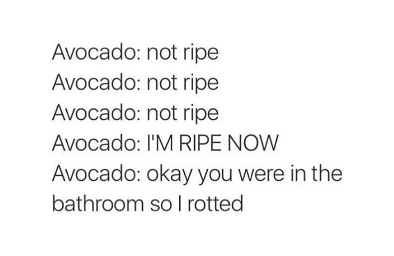 Text - Avocado: not ripe Avocado: not ripe Avocado: not ripe Avocado: I'M RIPE NOW Avocado: okay you were in the bathroom so I rotted